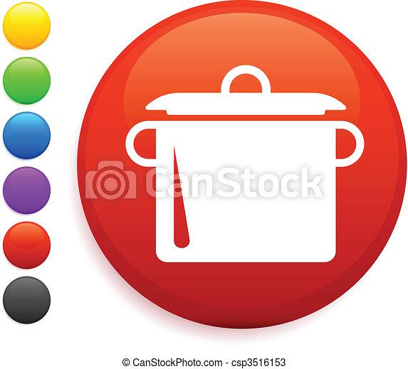 pote, redondo, ferver, internet, botão, ícone - csp3516153