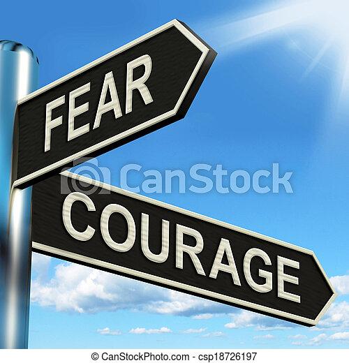 poteau indicateur, effrayé, courageux, courage, peur, ou, spectacles - csp18726197