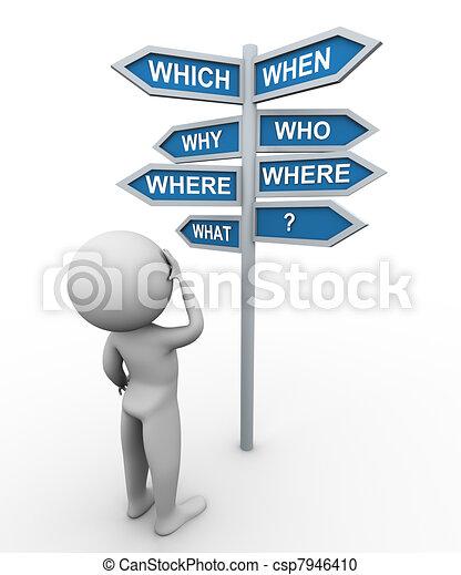 poteau indicateur, homme, question, mots, 3d - csp7946410