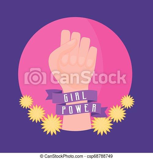 Tarjeta de celebración de poder femenino con puño de mano - csp68788749