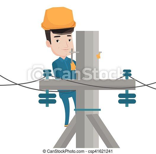 Potencia pole electricista el ctrico trabajando for Trabajo de electricista en malaga