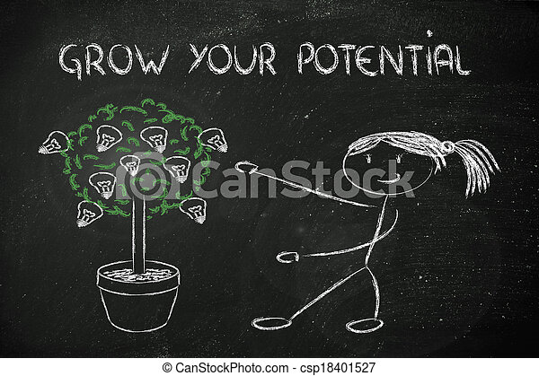 potentiel, personne, talent, idées, cultiver - csp18401527