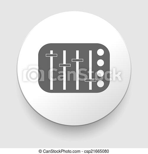 Potentiometer, slider, knob, equalizer vector icon on white background.