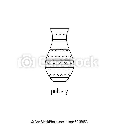 Poterie, ligne, icône. Simple, moderne, logo, décoré, design., fait ...