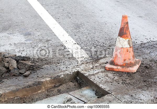 Pothole repair works - csp10065555