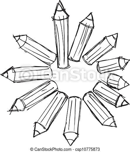 potloden, schets, geschikte, illustratie, vector, circle. - csp10775873