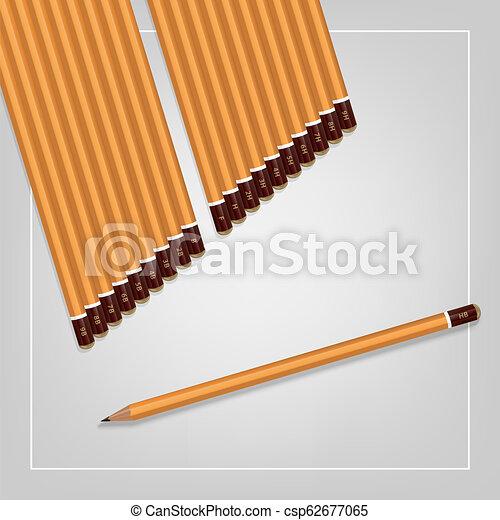 potloden, set, hardness., beeld, gele, achtergrond., vector, gevarieerd, witte  - csp62677065