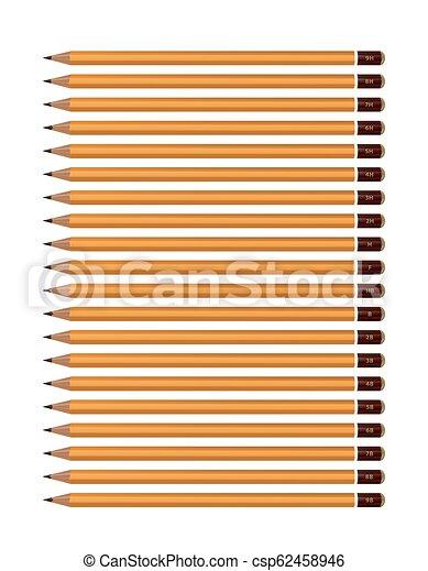 potloden, set, hardness., beeld, gele, achtergrond., vector, gevarieerd, witte  - csp62458946