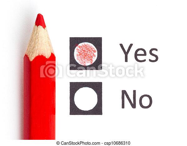 potlood, nee, kies, tussen, ja, of, rood - csp10686310