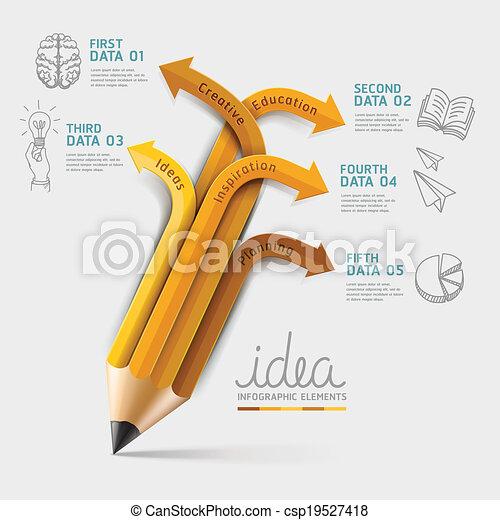 potlood, opleiding, infographics, step. - csp19527418