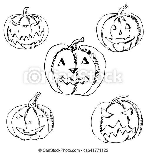 Halloween Tekeningen Pompoen.Potlood Pompoen Halloween Tekening Hand