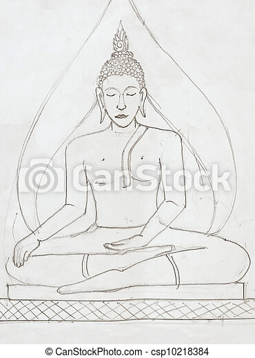 potlood, stijl, boeddha, beeld, tekening. potlood, stijl, beeld