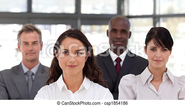 Potrait of a Confident Business woman leading a team - csp1854186