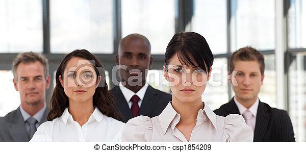 Potrait of a Confident Business woman leading a team - csp1854209