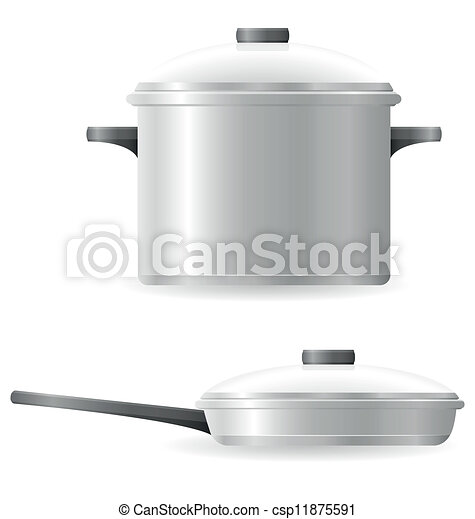 pots and pans tableware vector - csp11875591