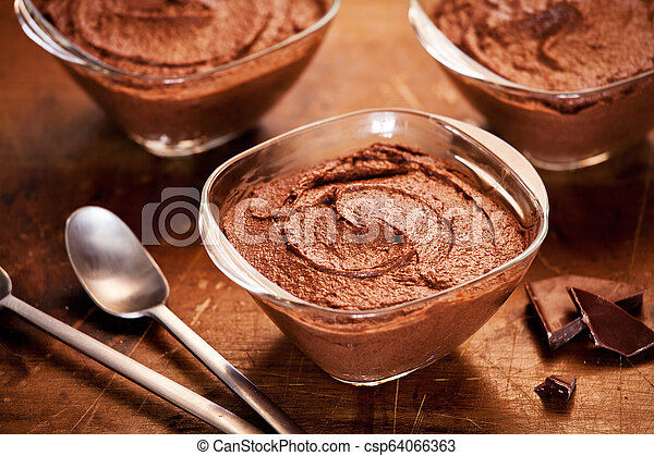Pots Of Homemade Chocolate Mousse - csp64066363
