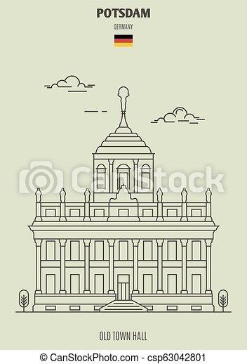 potsdam, ville, germany., vieux, repère, salle, icône - csp63042801