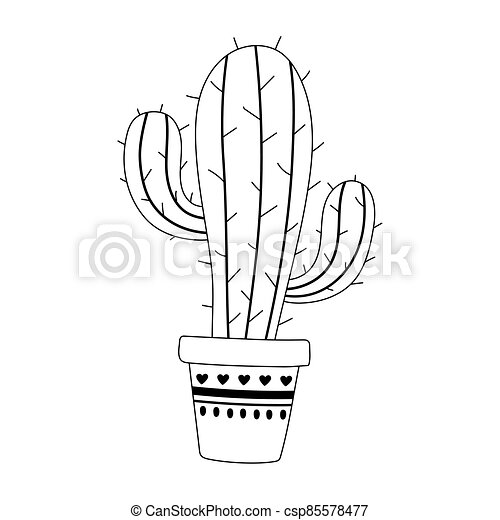 potted cactus decoration isolated design icon line style - csp85578477