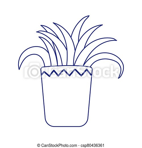 potted plant decoration isolated icon white background line style - csp80436361