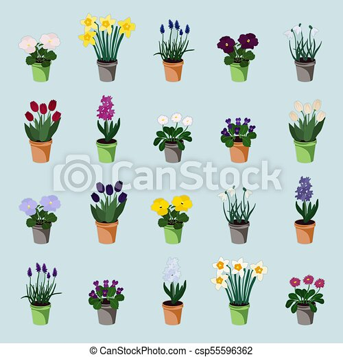Potted spring flowers set of spring flowers in flowerpots clip potted spring flowers csp55596362 mightylinksfo