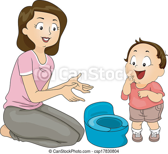 potty training illustration of a mother training her son to rh canstockphoto com potty training clipart