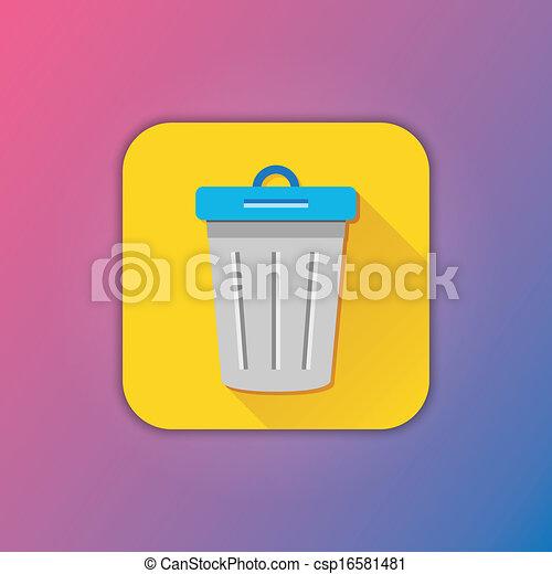 poubelle, vecteur, icône - csp16581481