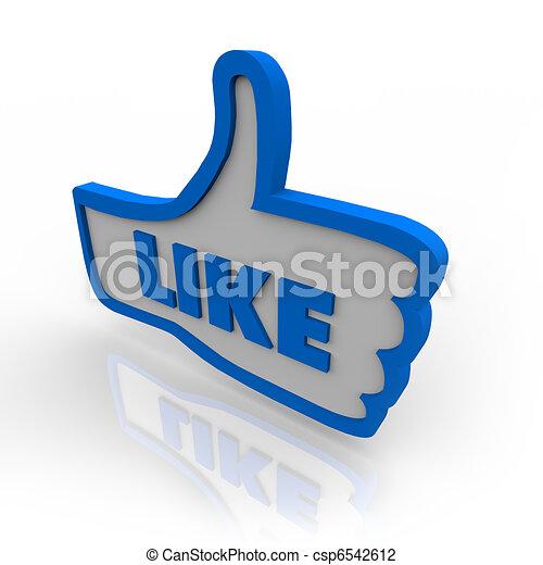 pouce, aimer, symbole, haut, revue, icône - csp6542612
