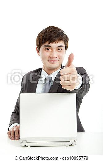 pouce, fonctionnement, réussi, projection, haut, informatique, homme affaires - csp10035779