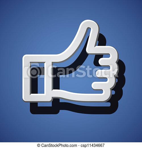 pouce, symbole, haut, main, vecteur, blanc - csp11434667