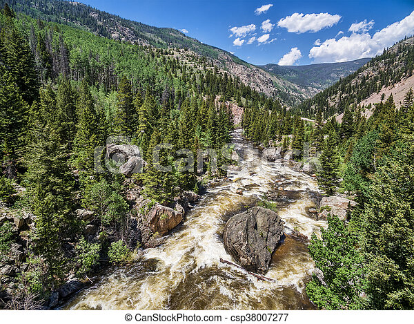 Poudre River aerial view - csp38007277