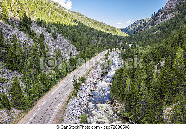 Poudre River aerial view - csp72030598