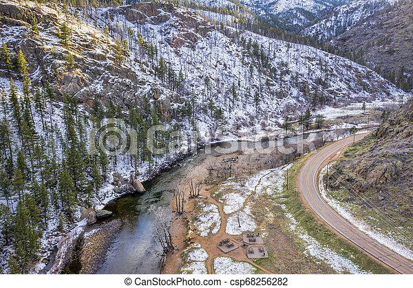 Poudre River and Canyon aerial view - csp68256282