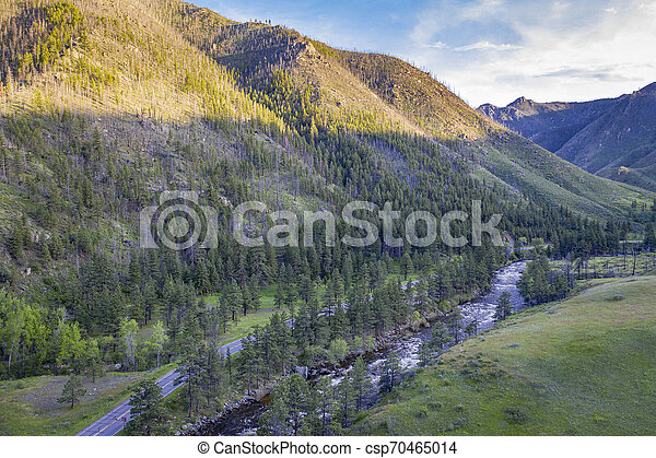 Poudre River Canyon aerial view - csp70465014