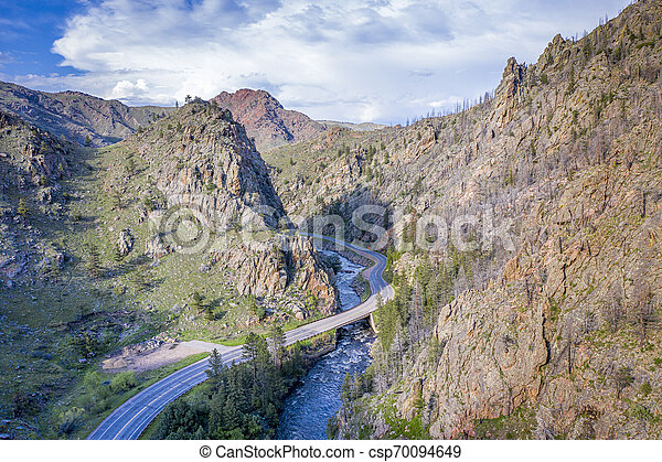 Poudre River Canyon aerial view - csp70094649