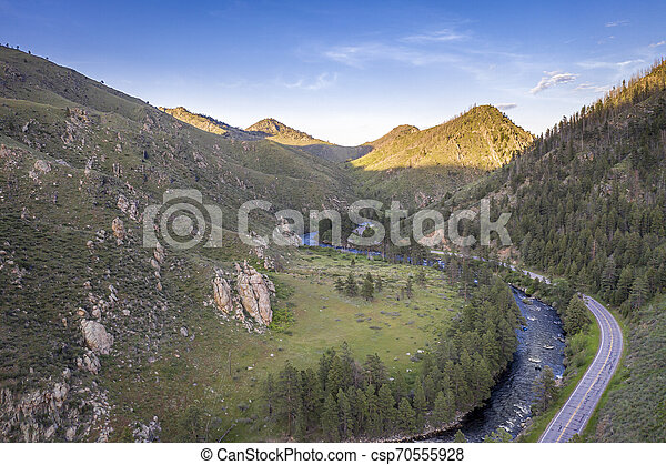Poudre River Canyon aerial view - csp70555928