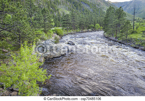 Poudre River Canyon aerial view - csp70485106