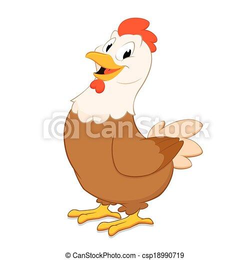 Dessin Animé Poule poule, dessin animé. hen., objet, isolé, élément, conception, dessin