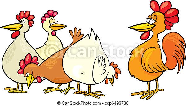 Beliebt Clipart vecteur de poules, coq - poules, dessin animé  FT36