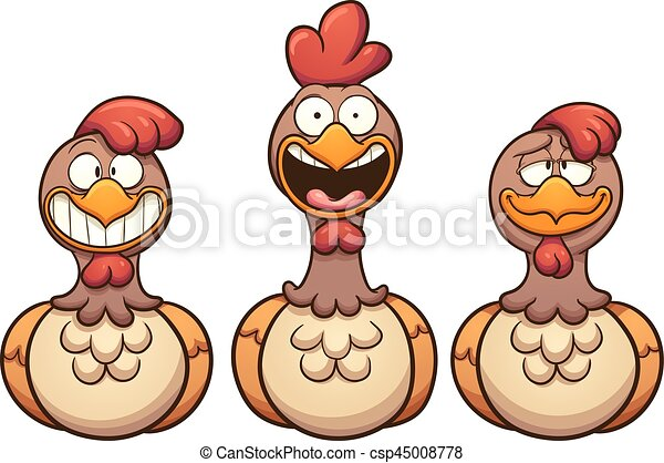 Poules dessin anim hens art agrafe s par simple illustration layer vecteur chaque - Poules dessin ...