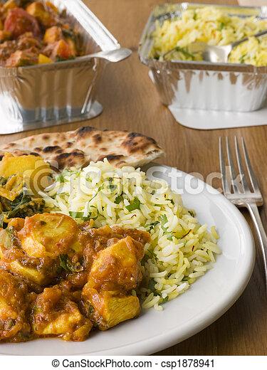 poulet, fléchissement, pilau, away-, riz, prendre, plaque, indien, bhoona, aloo - csp1878941