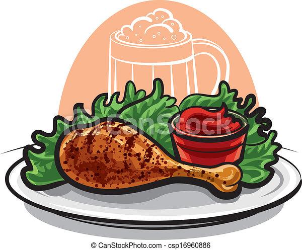 poulet, frit, jambe - csp16960886