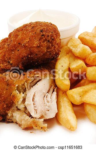 poulet, frit, méridional, morceaux - csp11651683