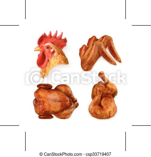 poulet grillé, icônes - csp33719407