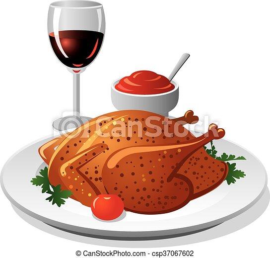 poulet grillé, vin - csp37067602