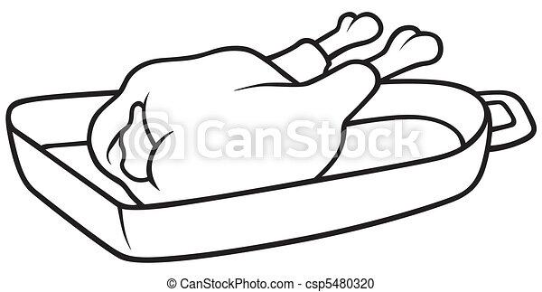 Poulet r ti illustration blanc vecteur noir poulet r ti dessin anim - Dessin de poulet roti ...