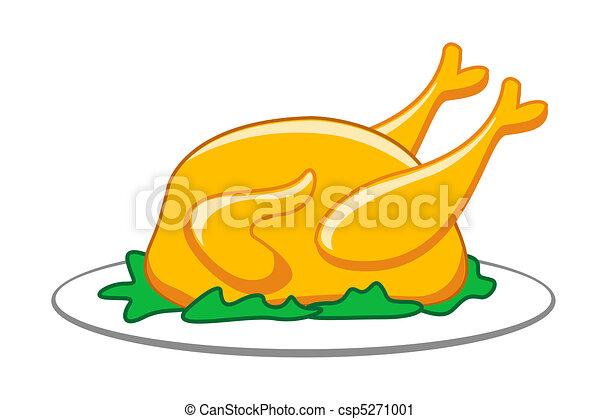Poulet r ti poulet fond isol illustration r ti - Dessin de poulet roti ...