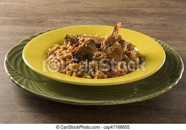 poulet, riz - csp47166655