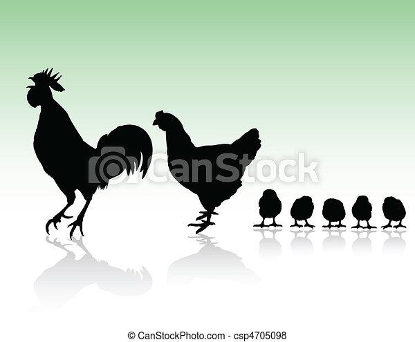poulet, silhouettes, famille - csp4705098