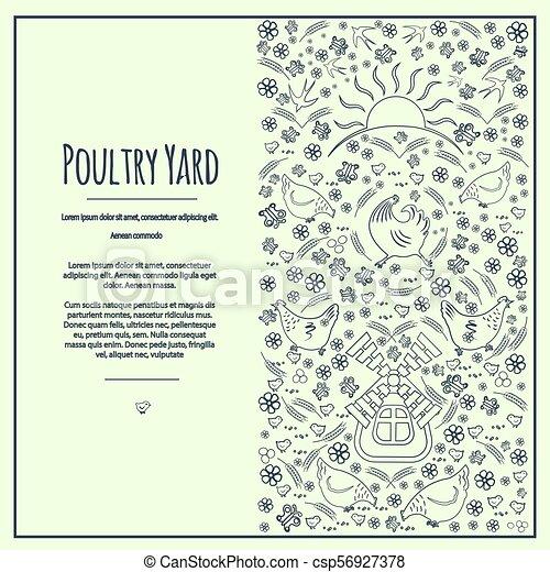 Poultry Yard Frem 6 Vertical Frame Banner Silhouettes Contours