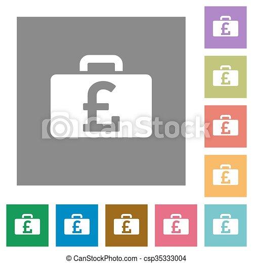Pound bag square flat icons - csp35333004